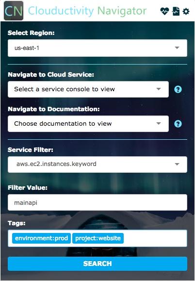 Cloud Services - Clouductivity Service Filter Tags